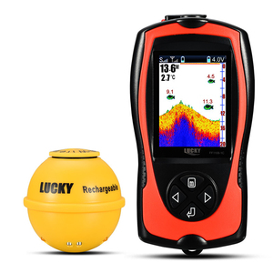 LUCKY Wireless Echo Sounder For Fishing LCD Fish Finder Li-battery Recharge Attractive Lamp Sonar Sensor 45M Water FF1108-1CWLA(China)