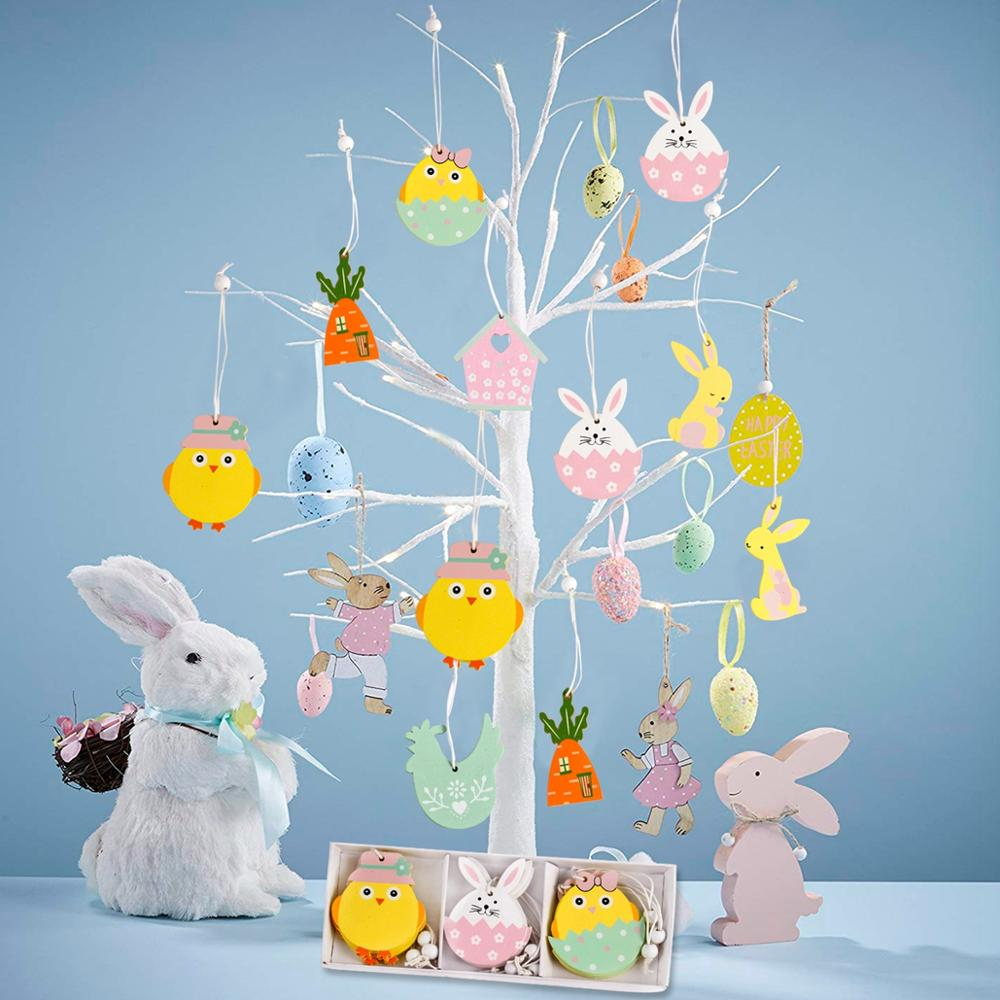 Huiran 9pc Easter Rabbit Wooden Pendant Happy Easter Decor For Home Bunny Easter Eggs Party Decorations Easter Rabbit Decor Gift