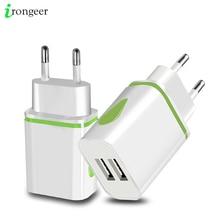 Chargeur USB Double 2 ports UE 5V 2A Voyage Adaptateur Mural LED Lumière de Téléphone Portable usb chargeur Pour iPhone 11 Pro Max Samsung Huawei LG