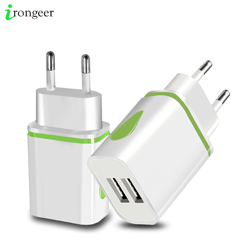USB Charger Dual 2 Port EU 5V 2A Travel Wall Adapter LED Light Mobile Phone Usb Charger For IPhone 11 Pro Max Samsung Huawei LG