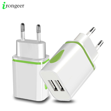 USB Charger Dual 2 port EU 5V 2A Travel Wall Adapter LED Light Mobile
