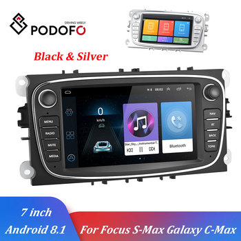 Podofo Android 8.1 2 Din Car Multimedia player GPS WIFI Autoradio 7'' Car Radio Player For Ford/Focus/S-Max/Mondeo 9/GalaxyC-Max image
