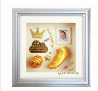 Handicraft DIY3D Baby Hand and Footprint Custom Kit Handprint Footprint Souvenir Gift Baby Growth Record Souvenir Birthday Memor