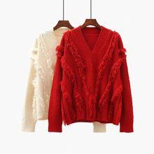 Женский свободный пуловер с v образным вырезом из альпаки красный
