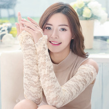 A new style of suntan elastic gloves for ladies with cut-out lace arm covers round geometric cut out arm chain