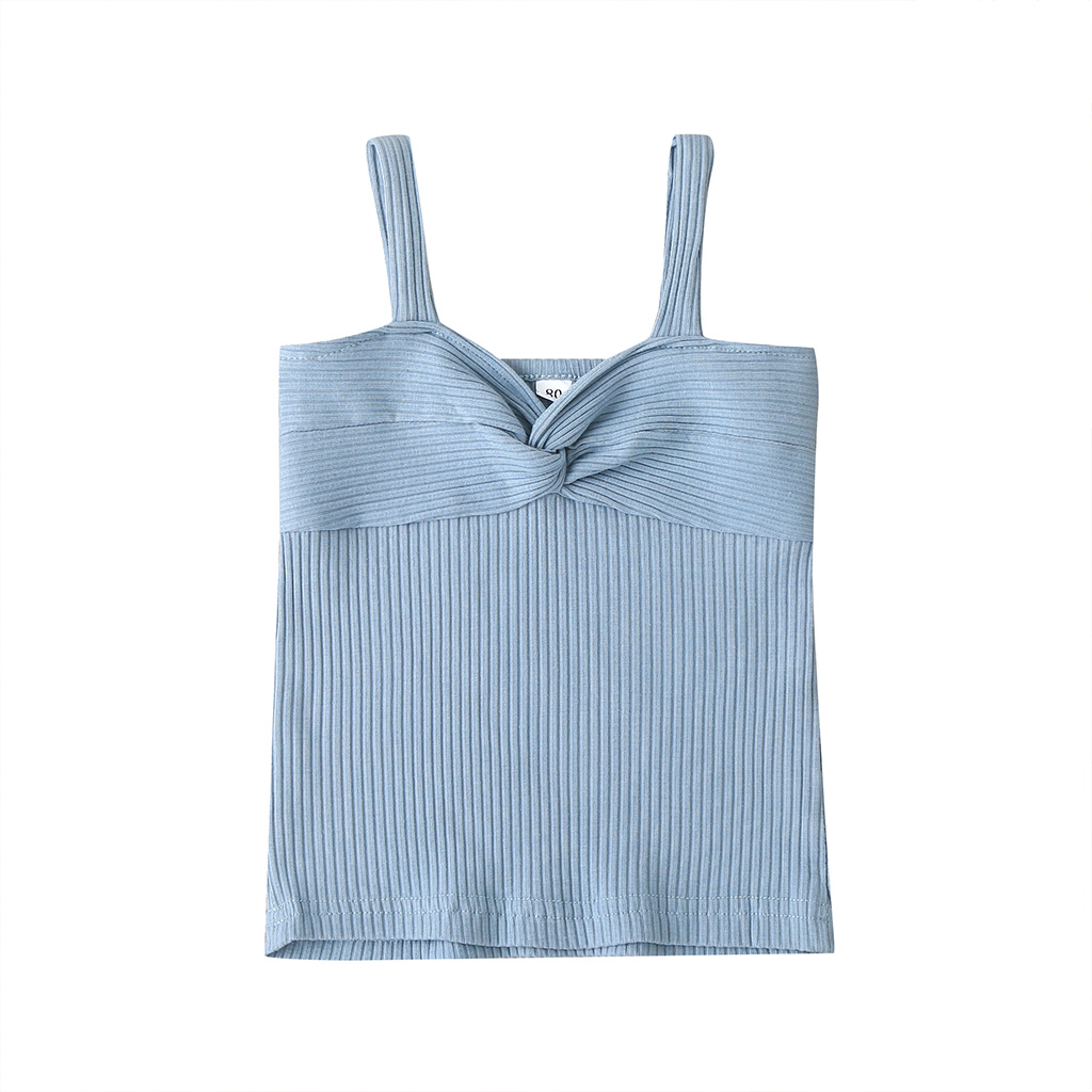 2020 Summer Infant <font><b>Baby</b></font> Girl Vest Crop Top Bowknot Solid Color Sleeveless Pullover <font><b>Tshirts</b></font> Toddler Girls Casual Sling Tops 9M-3T image
