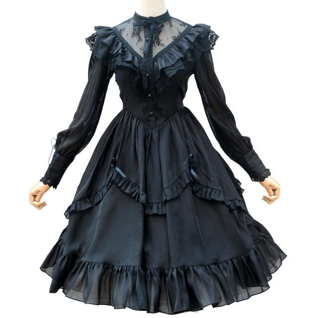 فستان كاجوال طويل الأكمام شفاف دانتيل مكشكش الوهم الرقبة ميدي القوطية فستان الحفلات
