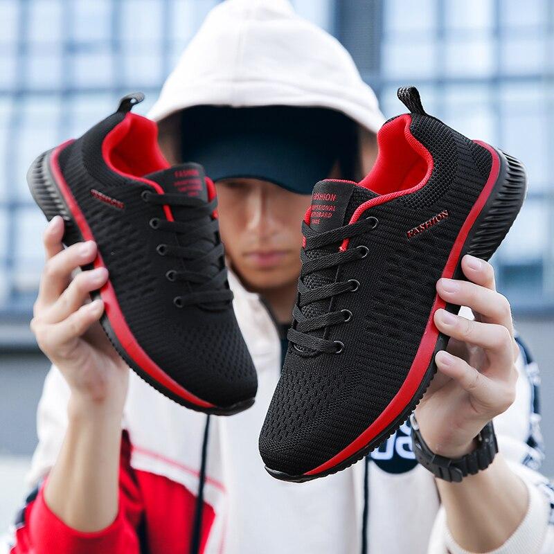 Лидер продаж; Мужская повседневная обувь; Светильник; Мягкие удобные дышащие мужские кроссовки из сетчатого материала; Цвет Черный; Большие размеры 39-48
