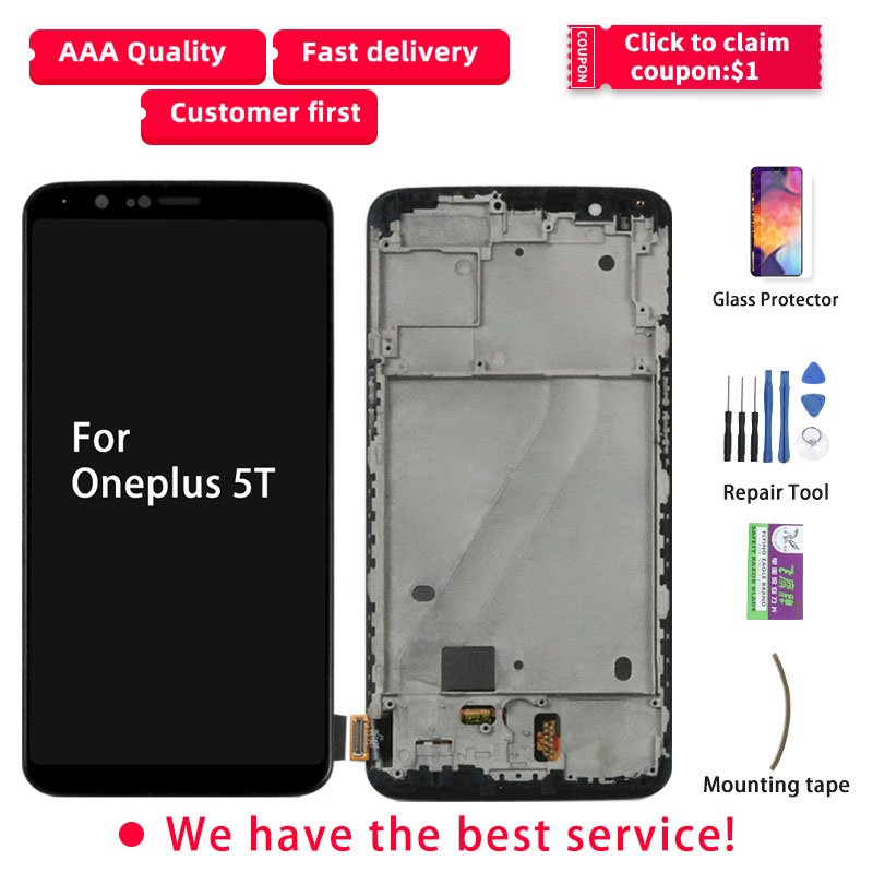 Original LCD For Oneplus 5T Display Touch Screen With Frame Digitizer Assembly For Oneplus 5T 5 T LCD Display A5010 LCD