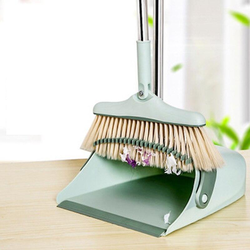Foldable Standing Broom Dustpan Set Windproof Rotatable Adjustment Filter Hair Floor Cleaning Broom Crumb Dust Cleaning Tools