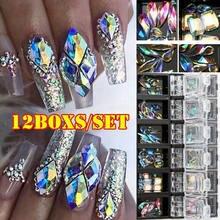 Parlak AB elmas tırnak süsü Rhinestones Glitter cam kristal düz geri taşlar taşlar 3D Nail Art İpuçları süslemeleri çıtçıt boncuk Charms