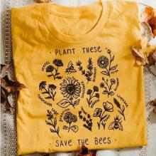 plant t shirt save the bees woman harajuku thanksgiving 90s christmas top aesthetic punk plus size graphic tees women