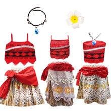 Letnie dzieci dziewczyny ubrania Cosplay księżniczka sukienka Moana dziecko Vaiana dziewczyny kostium imprezowy sukienki z naszyjnik szpilka dziewczyny zestaw
