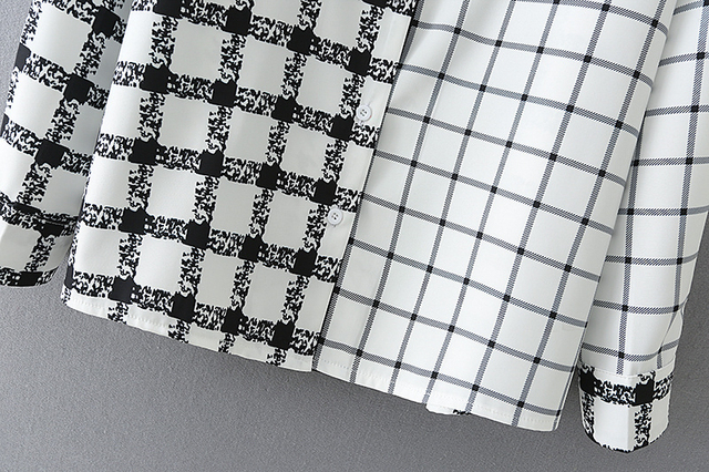 Plaid Shirt with black and white patchwork