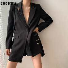 new blazer women black solid pocket sash button long sleeve office blazer women jacket oversize veste femme dual pocket blazer