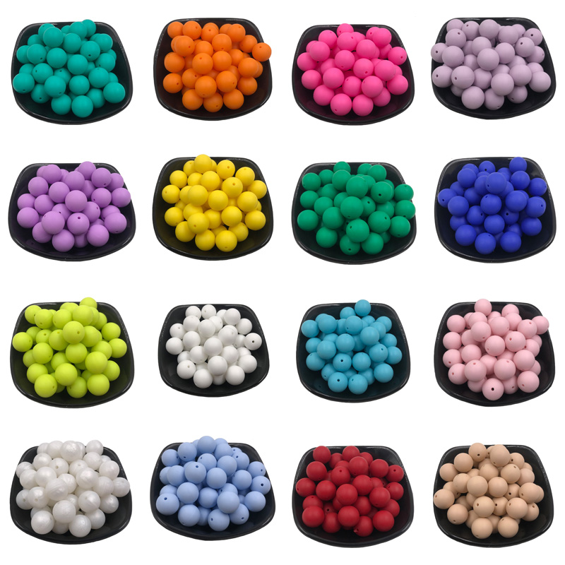 10Pcs 15mm Silicone Beads Food Grade Silicone Baby Teething Products Chews Pacifier Chain Clips  Accessories Beads Baby Teethers