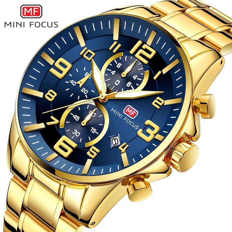 MINI FOCUS Fashion Gold Chronograph Mens Watches Top Brand Luxury Stainless Steel Male Wrist Watch Quartz Watch Men Waterproof