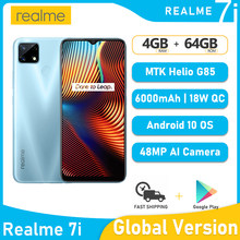 Version globale Realme 7i MTK Helio G85 4 GO RAM 64 GO ROM Téléphone Portable Realme 7 je Smartphone 6.5