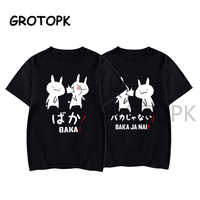 Baka Rabbit Japanese Friend Couple T Shirt Summer Women Black TShirt Harajuku Streetwear Mens Clothes Anime Cotton Shirt