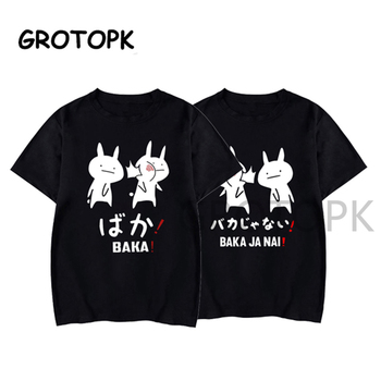 Baka Rabbit Japanese Friend Couple T Shirt Summer Women Black TShirt Harajuku Streetwear Mens Clothes Anime Cotton Shirt