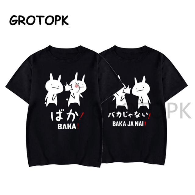 Camiseta de conejo japonés pareja de amigos de Baka, camiseta negra de verano para mujer, ropa de calle Harajuku, ropa para hombre, Camisa de algodón de Anime