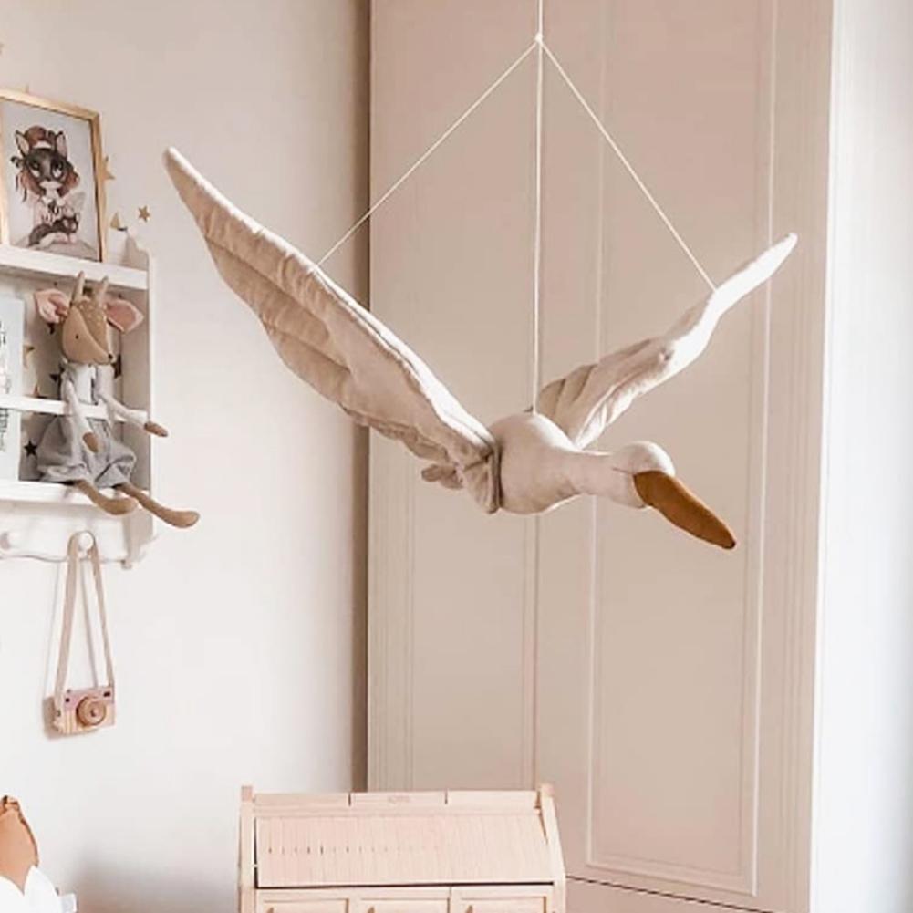 Ligne de coton tenture murale cygne en peluche poupée en peluche chambre denfant pendentif maison chambre enfants chambre décoration suspendus ornement