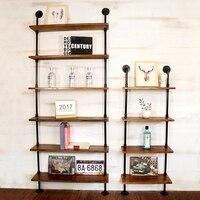 Industrial Retro Bookshelf Black Wall Ceiling Mounted Wall shelf Open Bookshelf Hanging Wall 2 Layer Iron Pipe Shelf Home Decor