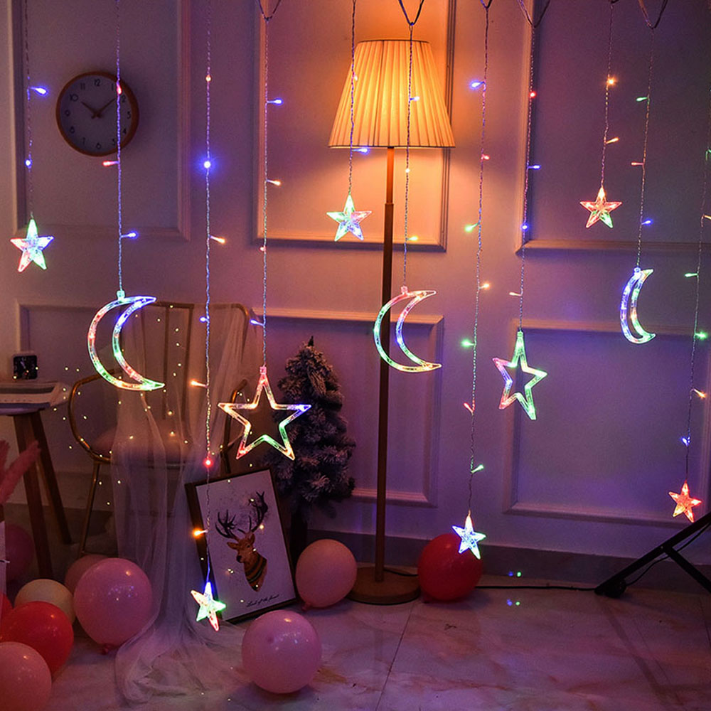 EU/USB LED Star Moon Curtain String Light Memory Function Fairy Garland Light  Decor Party Wedding Christmas Light String