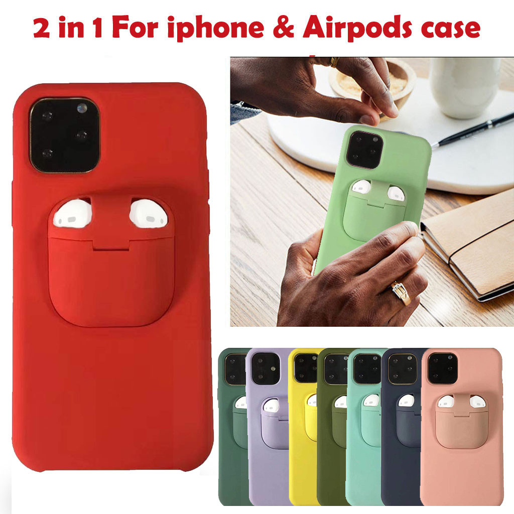 2 In 1 Wireless Headset Set Protection For Iphone 11 11 Pro 11 Pro Max For Airpods Shock Proof Tpu Pc Phone Back Cover Case Half Wrapped Cases Aliexpress