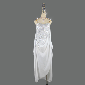 Children Shiny Latin Dance Dress Lady Sequin Fringe Dresses Competition Costume Adult Rumba Dress Performance Dance Clothes