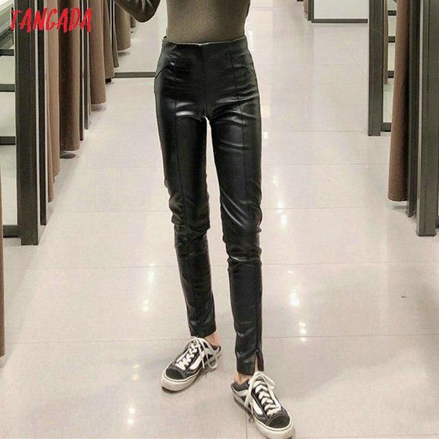 Skinny leather stretch zipper female pencil trousers 4