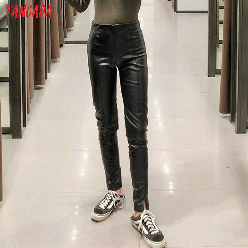 Tangada women white skinny PU leather pants stretch zipper female autumn winter pencil pants trousers 6A04 12