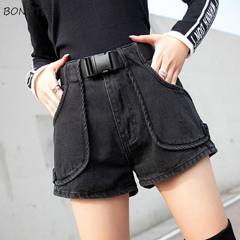 Shorts Women Denim High Waist Slim Pockets Black Korean Style Leisure Casual Girl Retro Summer Trendy Short Womens Vintage Daily