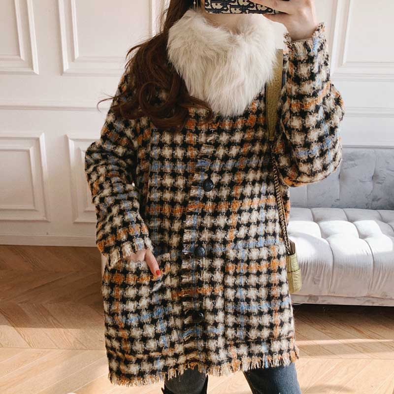 Women Sweater2019 Autumn and Winter Small Fragrance Wind Tweed Wool Blend Retro Check Coat CardiganPullovers