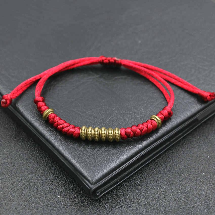 טיבטי אתני זהב חרוזים צמת צמיד אדום חבל מתכוונן צ 'אקרה צמידי נשים גברים תכשיטי קמע בודהה צמיד