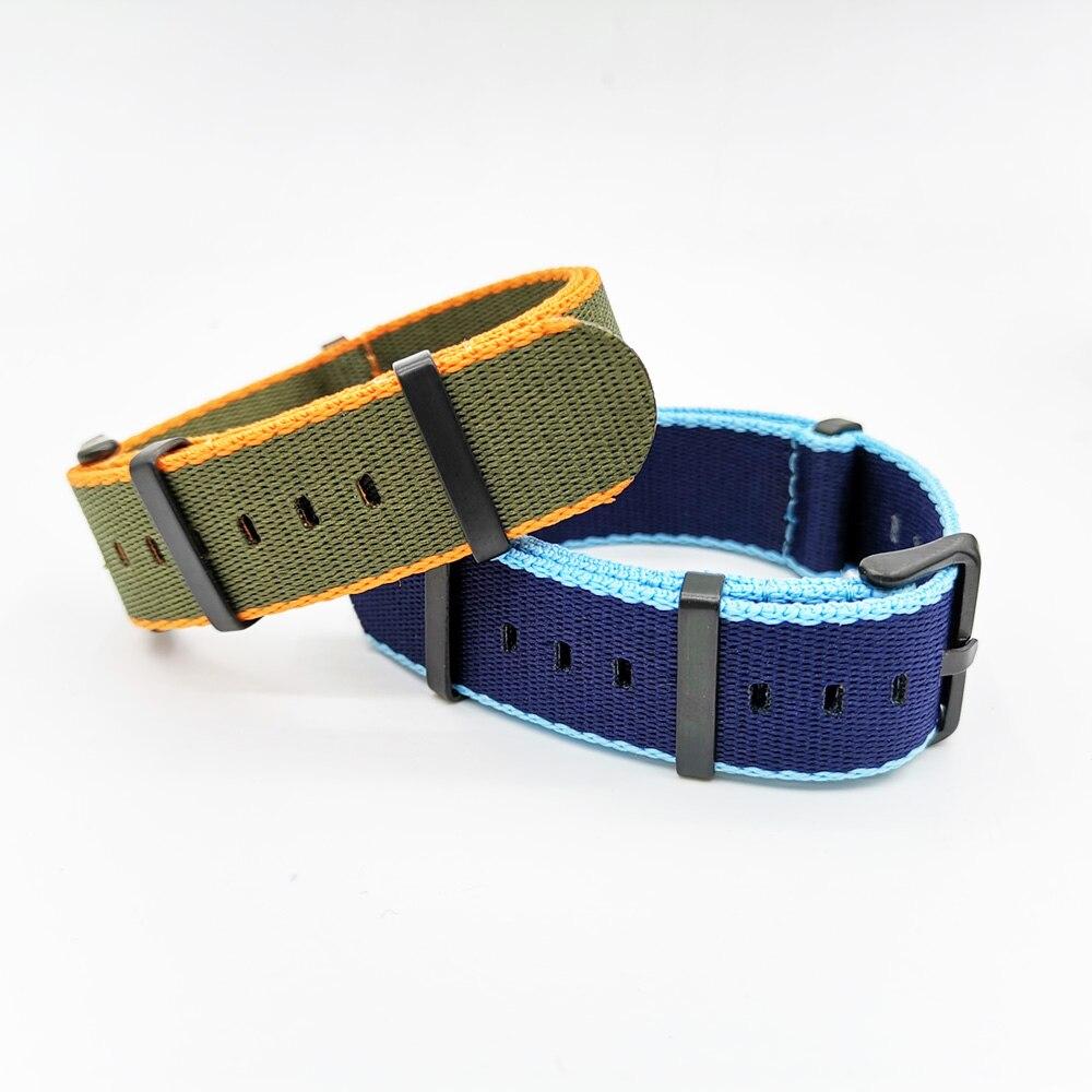 20mm 22mm Nylon Striped Nato Strap Watchbands Men's Sport Wrist Watch Accessories Orange,Dark Blue Pin Buckle Bands