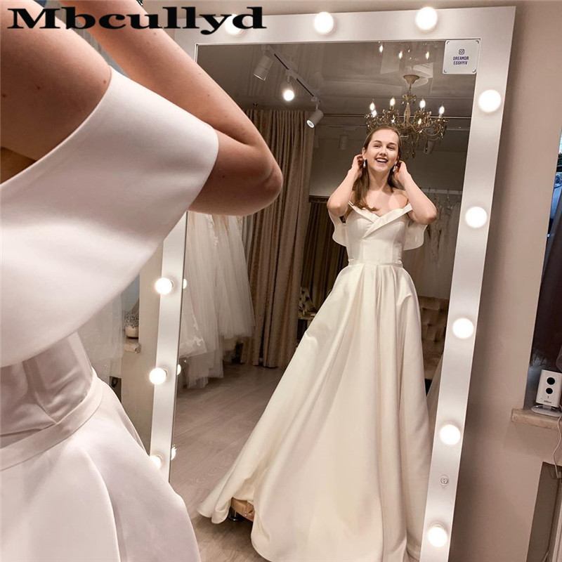 Mbcullyd Gorgeous A-line Wedding Dress Long Swep Train Bridal Dresses For Women Fully Button Back Vestido De Noiva Free Shipping