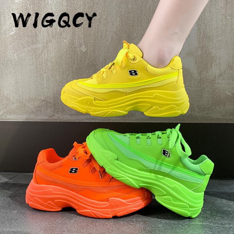 New Designer Sneakers Women Platform Casual Shoes Fashion Sneakers Platform Basket Femme Yellow Lace Up Casual Chunky Shoes 41