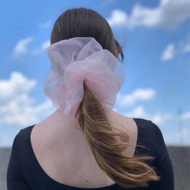 2020 Summer Women Girls Cute Colorful Big Chiffon Scrunchie Ponytail Holder Elastic Hair Bands Headband Fashion Hair Accessories