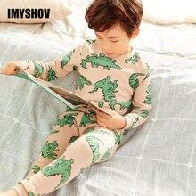 2019 jesienno zimowa dla dzieci dinozaur Cartoon piżamy dla chłopców bielizna nocna piżamy dziecięce z długim rękawem bawełna maluch Baby Boy piżamy
