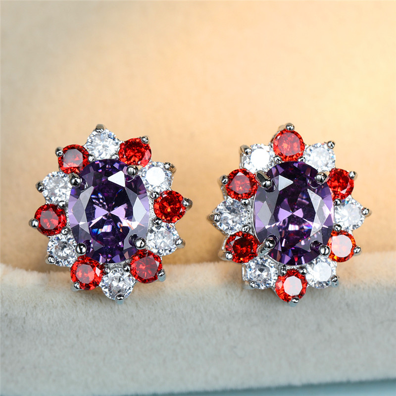 Vintage Female Red Purplr Crystal Earrings Cute Oval Zircon Flower Stud Earrings Simple Silver Color Wedding Earrings For Women