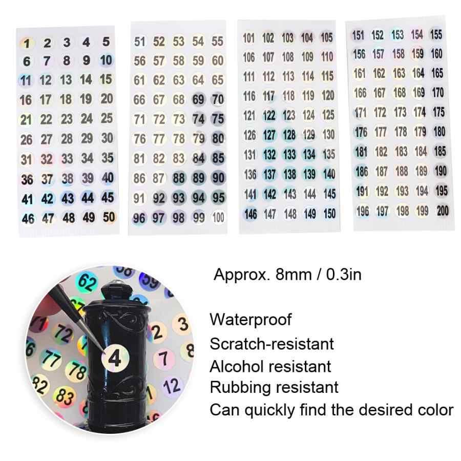 Unghie Artistiche Numerato Sticker Soak Off Gel Rotondo Numerato Etichetta Adesiva Impermeabile Gel Polish Digitale Tag Sticker (1-200)