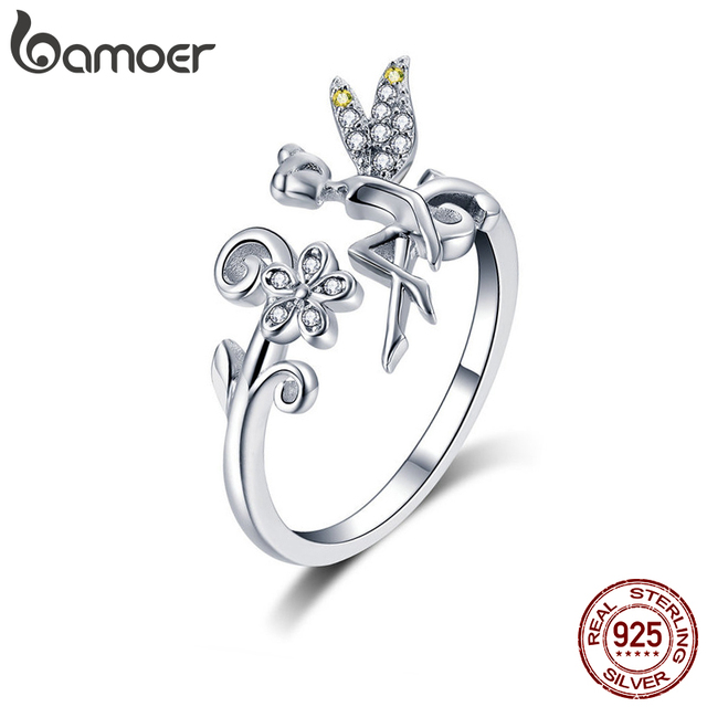 BAMOER GAR025 Silver Ring Fairy Wings Flowers Plant Ajustable Rings for Women 925 Sterling Silver Jewelry Girl Jewelry Gifts