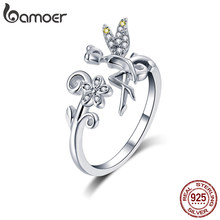BAMOER Silver Ring Fairy Wings Flowers Plant Ajustable Rings for Women 925 Sterling Silver Jewelry Girl Jewelry Gifts GAR025(China)