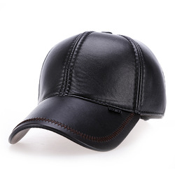Fashion men's outdoor thick warm baseball cap pu leather casual sports hat capsmiddle-aged and elderly ear protection warm hats
