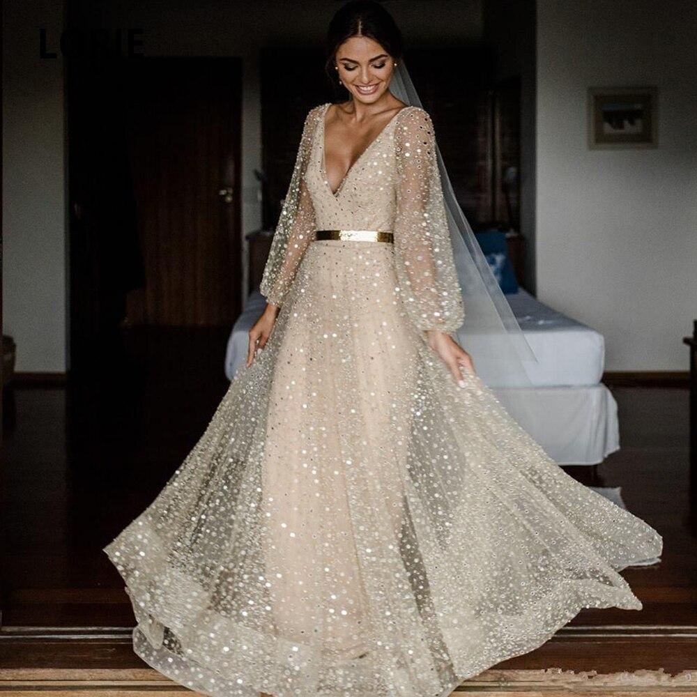 LORIE 2020 Lace Wedding Dresses V-neck Long Sleeve Open Back Bridal Gown Plus Size Boho Beach Wedding Gown Vintage Romantic
