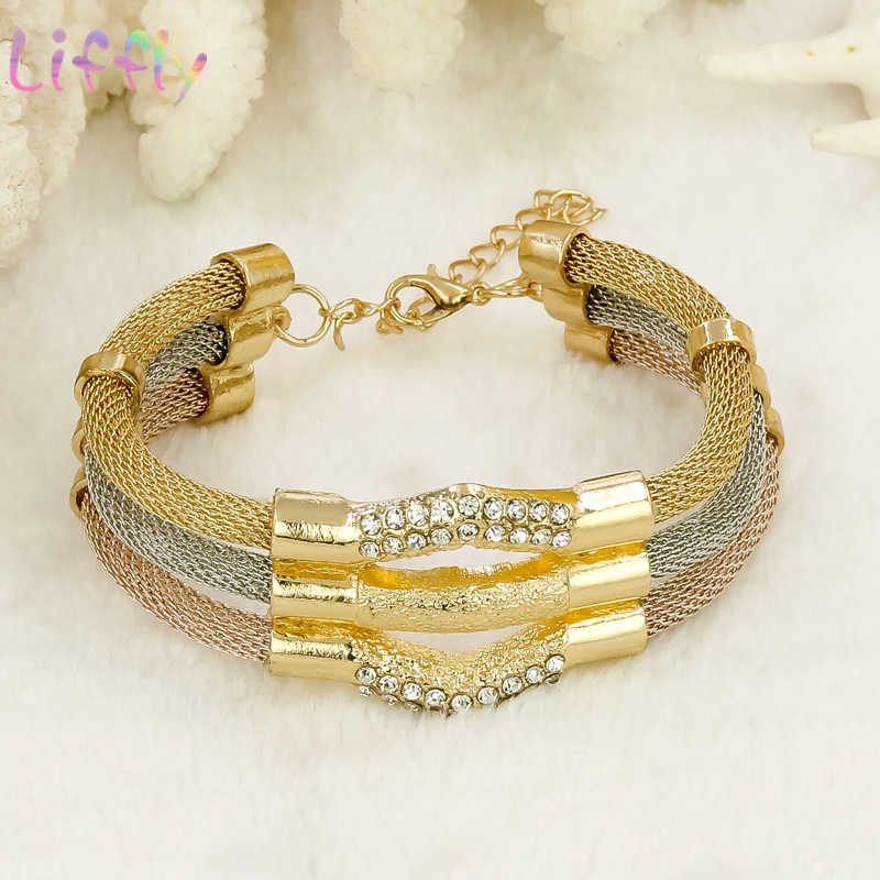 Liffly Afrikanisches Gold Schmuck Sets für Frauen Klassische Kristall Halskette Armband Ohrringe Ring Hochzeit Schmuck-Sets für Braut