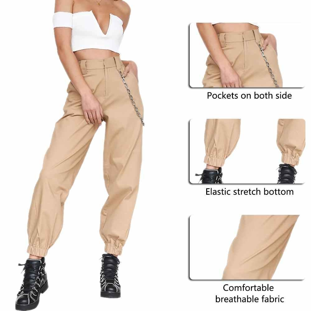 LITTHING kadın kargo pantolon pantolon katı Punk gevşek uzun spor yürüyüş Streetwear pantolon zinciri Hip Hop dans pantolon