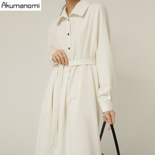 Plus Size White Long French Dresses For Women 4xl 5xl 6xl 7XL Turn-down Collar Long Sleeve Spring Autumn Casual Work Maxi Dress(China)