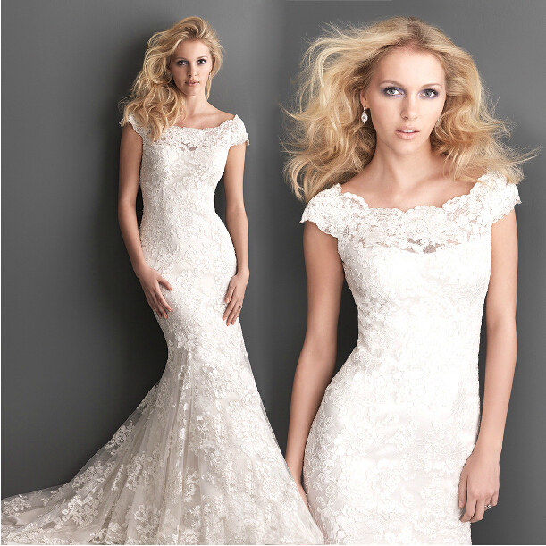 Free Shipping Bridal Gown Appliques Casamento Vestido De Noiva 2016 New Fashionable Cap Sleeve Sexy Lace Mermaid Wedding Dress